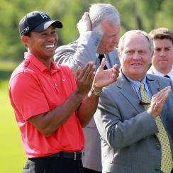 Woods and Nicklaus during the final round of the 2012 Memorial Tournament.