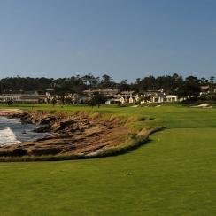 Pebble Beach's par-5 18th hole as seen from the tee box.
