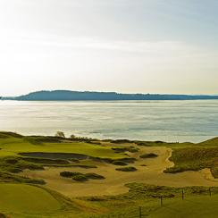 A solitary fir, the only tree on the golf course, stands watch over the green at the par-3 15th. At 139 yards, Lone Fir is the shortest hole at Chambers Bay and, with Puget Sound alongside and Fox Island in the distance, also one of the most picturesque.