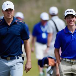 Cole Hammer (right) got to play a practice round with Masters champion and fellow Texan Jordan Spieth on Monday.