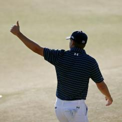 Jordan Spieth walks off the green after the final round of the U.S. Open.