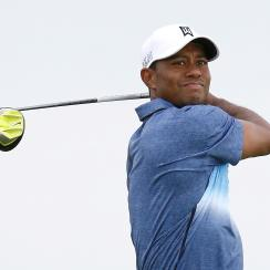 Tiger Woods tees off on the 16th hole during the opening round of the PGA Championship at Whistling Straits.