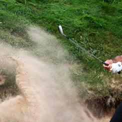 Jason Day blasts out of a bunker during the second round of the PGA Championship at Whistling Straits on Friday.