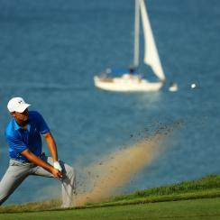 Jordan Spieth plays a bunker shot on the 16th hole during the final round of the PGA Championship at Whistling Straits on Aug. 16, 2015, in Sheboygan, Wisconsin.