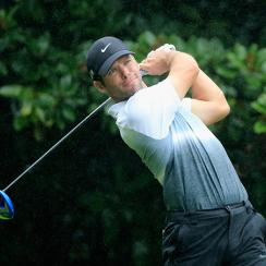 Paul Casey watches his tee shot on the fourth hole during the third round of the TOUR Championship.