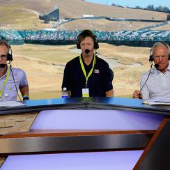 Brad Faxon (center) during FOX's broadcast of the 2015 U.S. Open Chambers Bay.