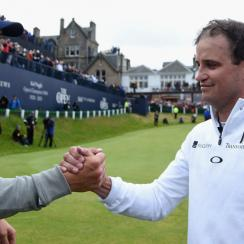 Jordan Spieth (left) congratulates Zach Johnson after Johnson won the 2015 British Open in St. Andrews, Scotland. Spieth entered The Open aiming for his third straight major title.
