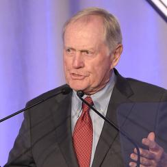 SI Muhammad Ali Legacy Award Recipient Jack Nicklaus speaks on stage during Sports Illustrated Sportsperson of the Year Ceremony.