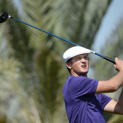 Bryson Dechambeau of the Unites States tees off at the 14th hole during the round one of Abu Dhabi HSBC Golf Championship in Abu Dhabi, United Arab Emirates, Thursday, Jan. 21, 2016. (AP Photo/Martin