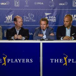 LPGA Commissioner Mike Whan, USGA Executive Director Mike Davis, PGA TOUR Commissioner Tim Finchem, PGA of America CEO Pete Bevacqua & World Golf Foundation CEO Steve Mona speak during a press conference regarding a collaboration to grow the game of golf.