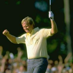 Nicklaus celebrates a Masters victory at Augusta National in 1986.