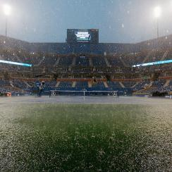 Heavy rains pelted New York City and the U.S. Open venues, sending patrons in search of cover.