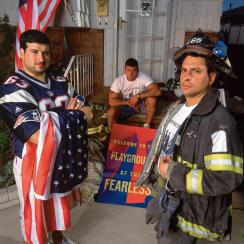 New England Patriots guard Joe Andruzzi joined his brothers, Jim and Bill (right), both New York City firefighters, in front of their family home on Staten Island.