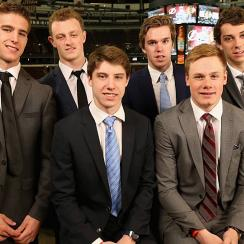 (back row, L-R) Noah Hanifin, Jack Eichel, Connor McDavid, Dylan Strome, (front, L-R) Mitchell Marner, Lawson Crouse