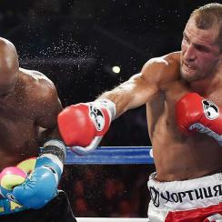 Sergey Kovalev defeated Bernard Hopkins during their IBF, WBA, & WBO Light Heavyweight title fight at Boardwalk Hall Arena on Nov. 8 in Atlantic City.