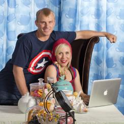 David and Ashley dress for success in their Alice in Wonderland–themed dining room, which serves as Ashley's office.