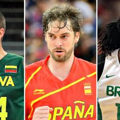 Lithuania's Jonas Valanciunas, Spain's Pau Gasol and Brazil's Nene.