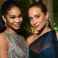 Chanel Iman and Hannah Davis attend the Bloomberg & Vanity Fair cocktail reception following the 2015 WHCA Dinner.