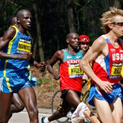 Ryan Hall leads a pack of elite runners during the 114th running of the Boston Marathon in April 2010.