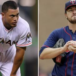 L: Giancarlo Stanton of the Marlins. R: Phil Hughes of the Twins.