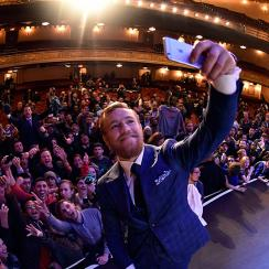 Conor McGregor interacts with fans on a recent New York press tour.