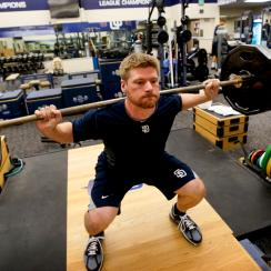 Chase Headley lifts weights in the team gym at Petco Park in San Diego. During the season, however, players will be concentrating on moves that build functional and dynamic strength, not big, bulky muscle.