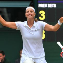 Now a two-time Wimbledon champion, Petra Kvitova lost only three games against first-time Grand Slam finalist Eugenie Bouchard in the final.