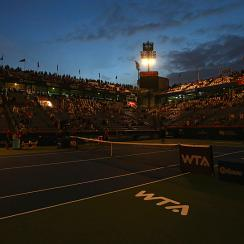 A power outage delays play at the Rogers Cup in Montreal on Aug. 5.