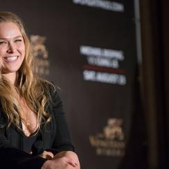 Ronda Rousey at a Q&A session during the Macao UFC Fight Night Press Conference at the Four Season Hotel in Hong Kong.