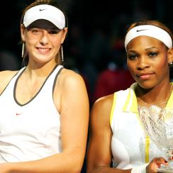 Sharapova and Serena pose together after the final march of the WTA Tour Championship Tournament at the Staples Center.