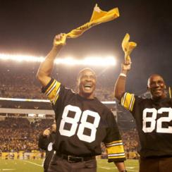 Stallworth and Swann, who were both drafted by Pittsburgh in 1974, led the crowd in a Terrible Towel wave in a 2012 game.