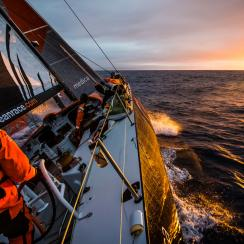 With just 650 miles to Cape Town, the sailing slows considerably as a high-pressure system moves in from the west. This was the first sunrise onboard Alvimedica in a week.