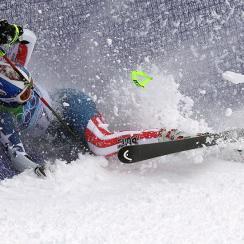 Lindsey Vonn of the United States crashes into the fence during the Ladies Giant Slalom first run on day 13 of the Vancouver 2010 Winter Olympics in 2010.