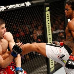 Benson Henderson (right) eventually asserted himself against Rustam Khabilov at UFC Fight Night 42.