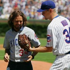 Pearl Jam's lead singer grew up in Chicago and is a major Cubs, Bears and Bulls fan. He once warmed up with Kerry Wood before singing the national anthem at Wrigley Field. ChiTown sports luminaries such as Dennis Rodman have taken the stage with Pearl Jam.