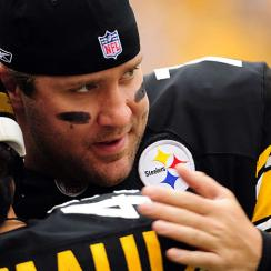 Roethlisberger shares a few pre-game words with safety Troy Polamalu, who would re-injure his knee later in the day.