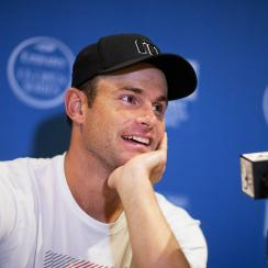 Andy Roddick speaks during a press conference at the Atlanta Open tennis tournament Monday, July 27, 2015, in Atlanta. Roddick is coming out of retirement to play doubles with friend Mardy Fish in the Atlanta Open. (AP Photo/David Goldman)