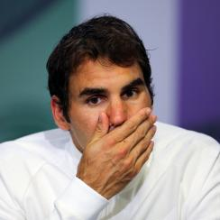 FILE - In this July 8, 2016, file photo, Roger Federer of Switzerland gives a press conference after being beaten in his men's semifinal singles match against Milos Raonic of Canada, at the Wimbledon Tennis Championships in London. Federer says he contemp