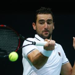 Croatia's Marin Cilic returns to France's Richard Gasquet during day three of the Davis Cup semifinal tennis match between Croatia and France, in Zadar, Croatia, Sunday, Sept. 18, 2016. (AP Photo/Darko Bandic)