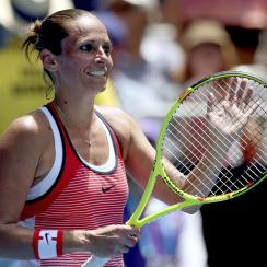FILE -- In this Jan. 20, 2016 file photo, Roberta Vinci of Italy waves to the crowd after defeating Irina Falconi of the United States in their second round match at the Australian Open tennis championships in Melbourne, Australia. 33-year-old Vinci issue