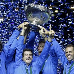 Argentina's team lifts the trophy after winning the Davis Cup final in Zagreb, Croatia, Sunday, Nov. 27, 2016. Argentina defeated Croatia 3-2 in the Davis (AP Photo/Darko Vojinovic)
