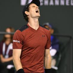 Andy Murray, of Great Britain, reacts after losing a point to Vasek Pospisil, of Canada, at the BNP Paribas Open tennis tournament, Saturday, March 11, 2017, in Indian Wells, Calif. Pospisil won the match 6-4, 7-6 (5). (AP Photo/Mark J. Terrill)