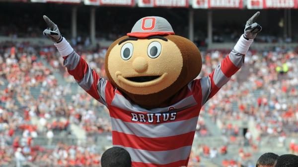 Brutus Buckeye always boosts morale at home football games!