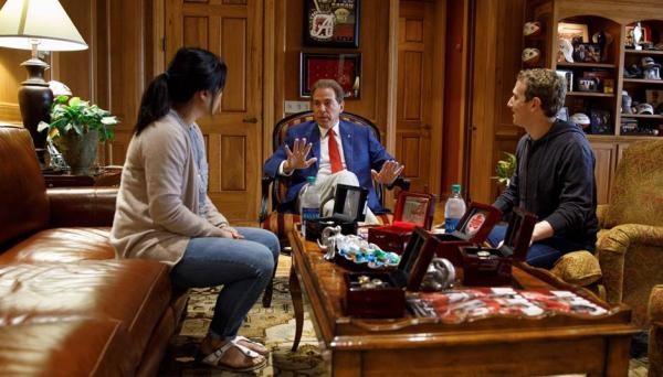 Nick Saban meets with Mark Zuckerberg the Facebook guy