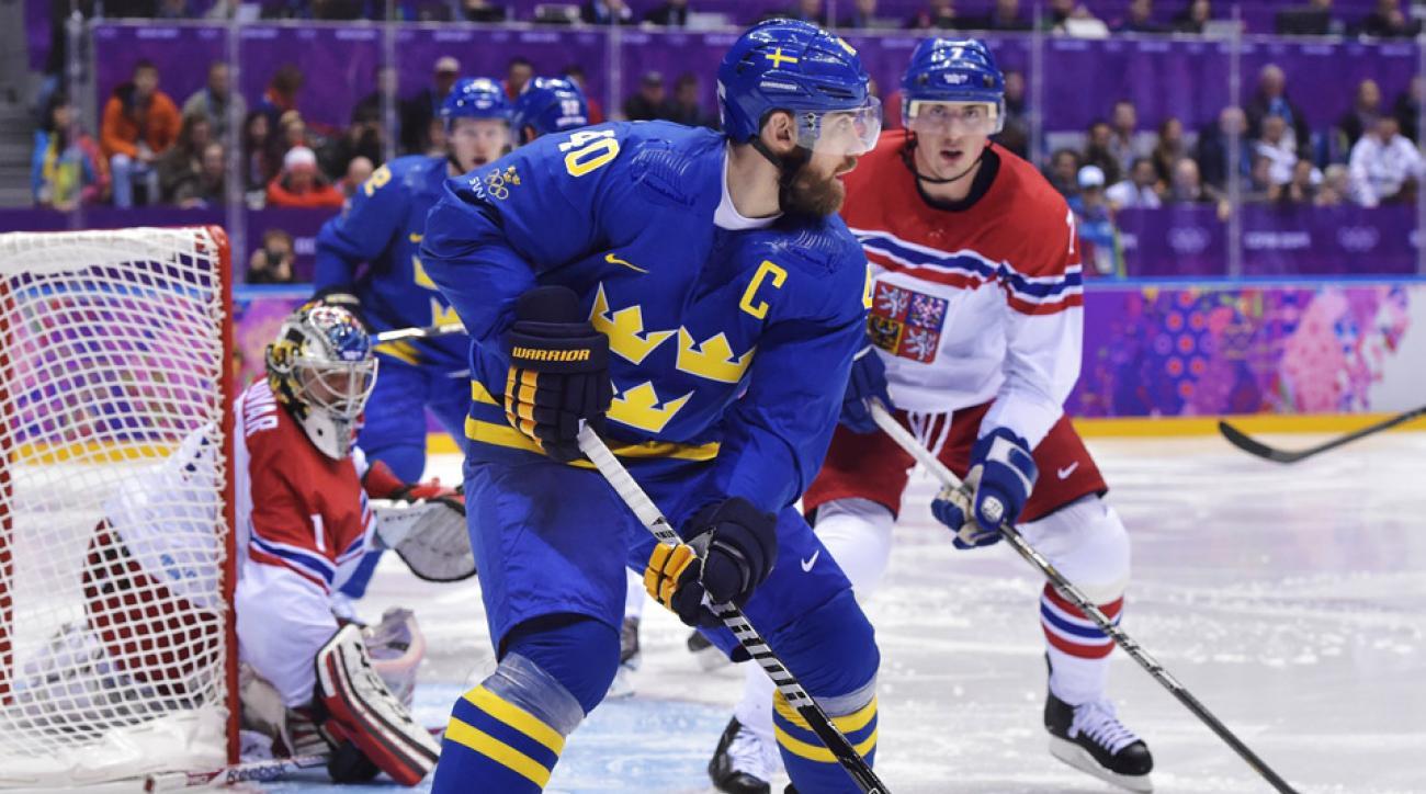 Henrik Zetterberg of Sweden skates against the Czech Republic during action at the Olympics in Sochi.