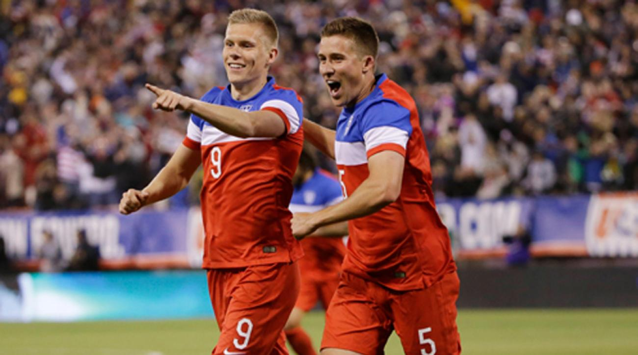 Aron Johannsson, left, celebrates with Matt Besler after scoring vs. Azerbaijan in a friendly.