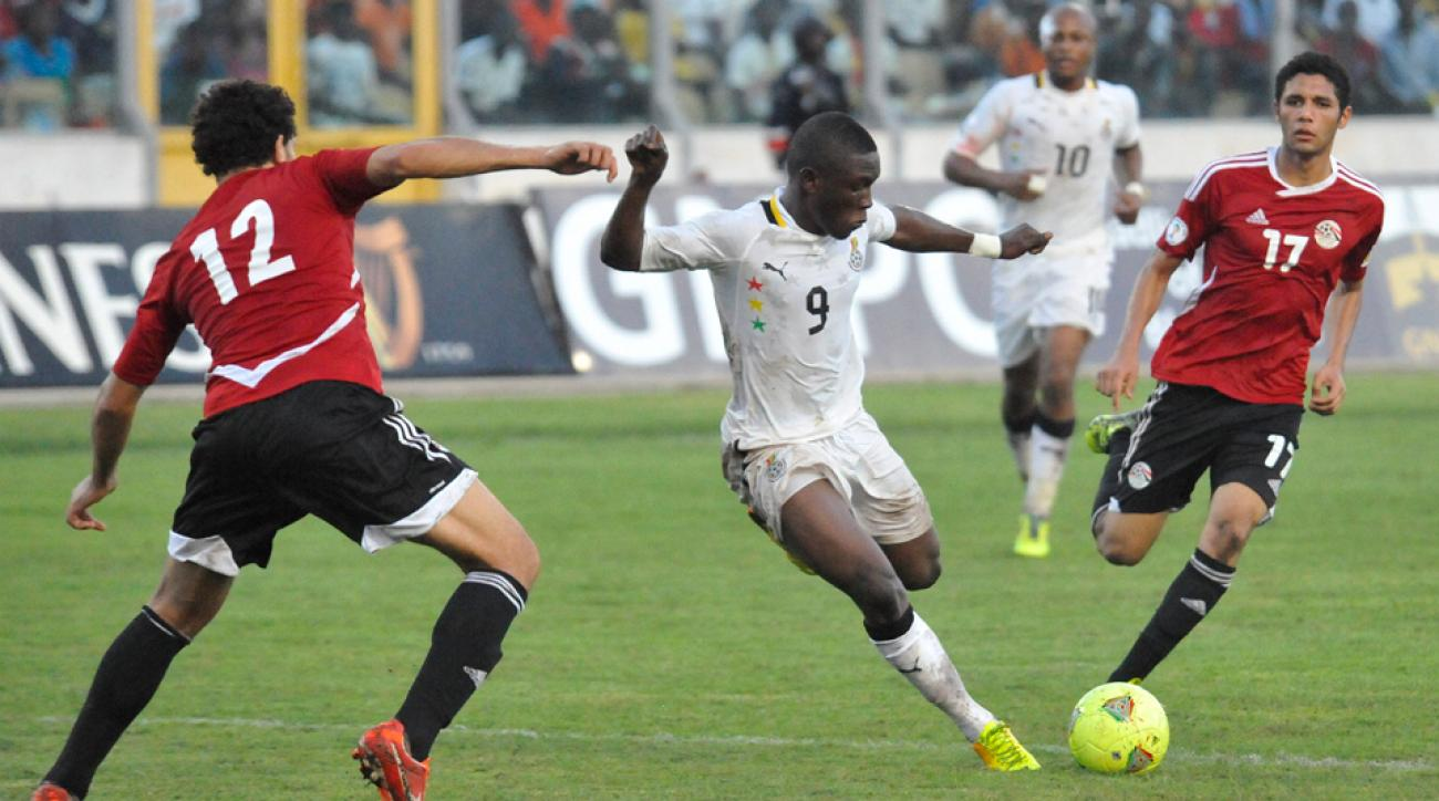 22-year-old Abdul Majeed Waris (9) is one of Ghana's brightest attacking prospects.