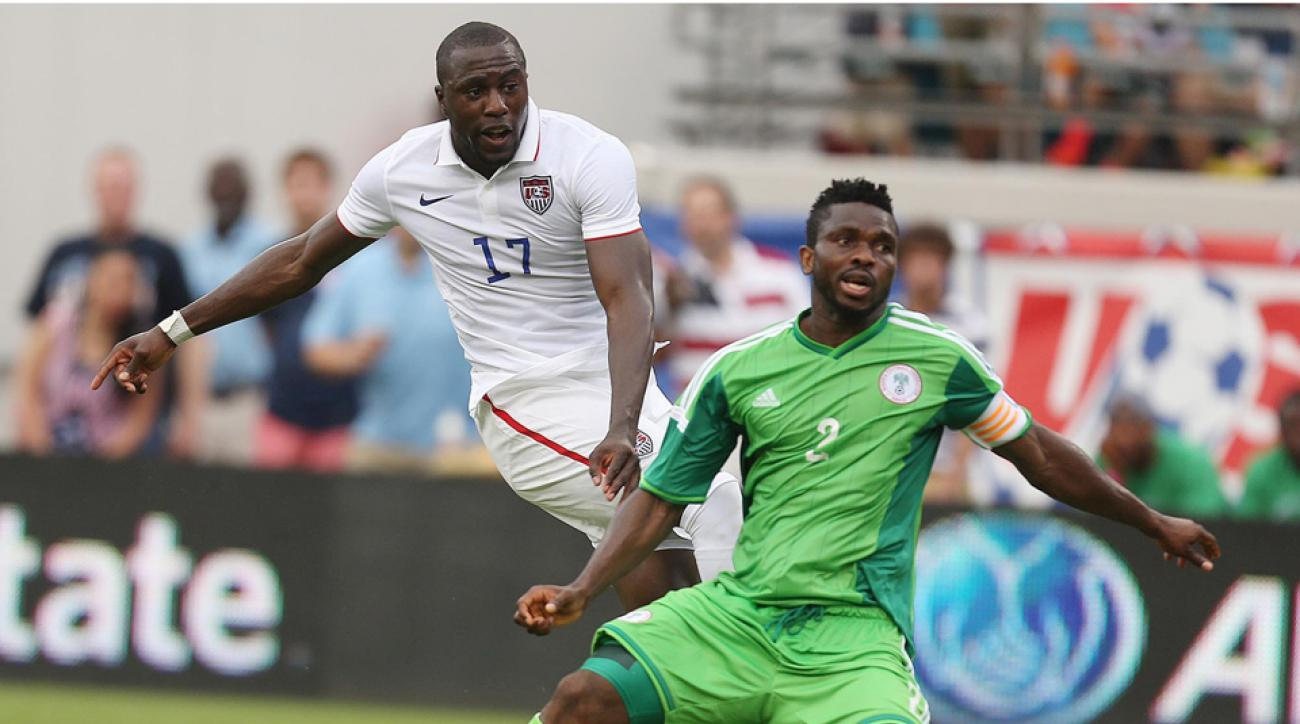 Jozy Altidore was head and shoulders above the competition Saturday, scoring twice in the USA's 2-1 win over Nigeria, including above by beating defender Joseph Yobo.