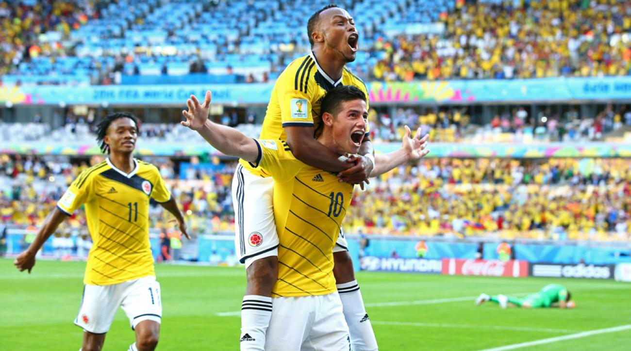 Colombia star midfielder James Rodriguez (10) celebrates after icing Los Cafeteros' 3-0 win over Greece in their World Cup opener on Saturday.