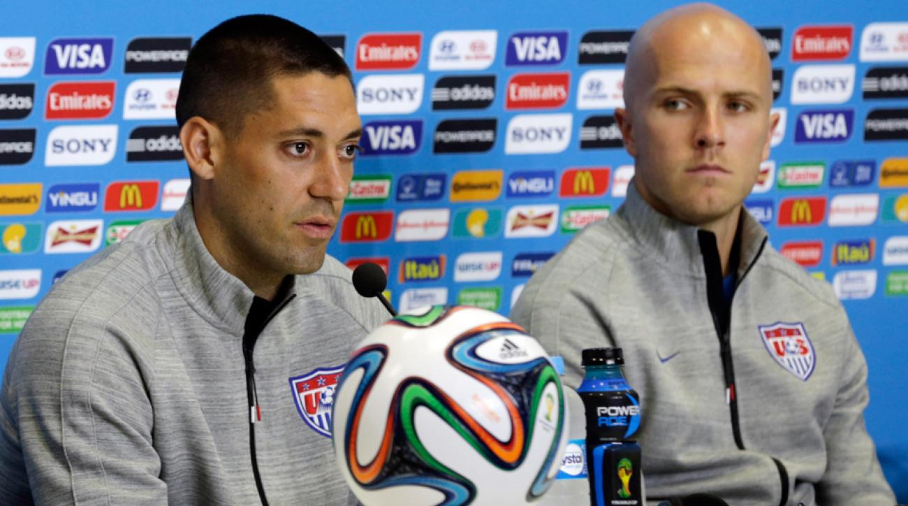 U.S. national team stars Clint Dempsey, left, and Michael Bradley address the media on the eve of their World Cup opener against Ghana.